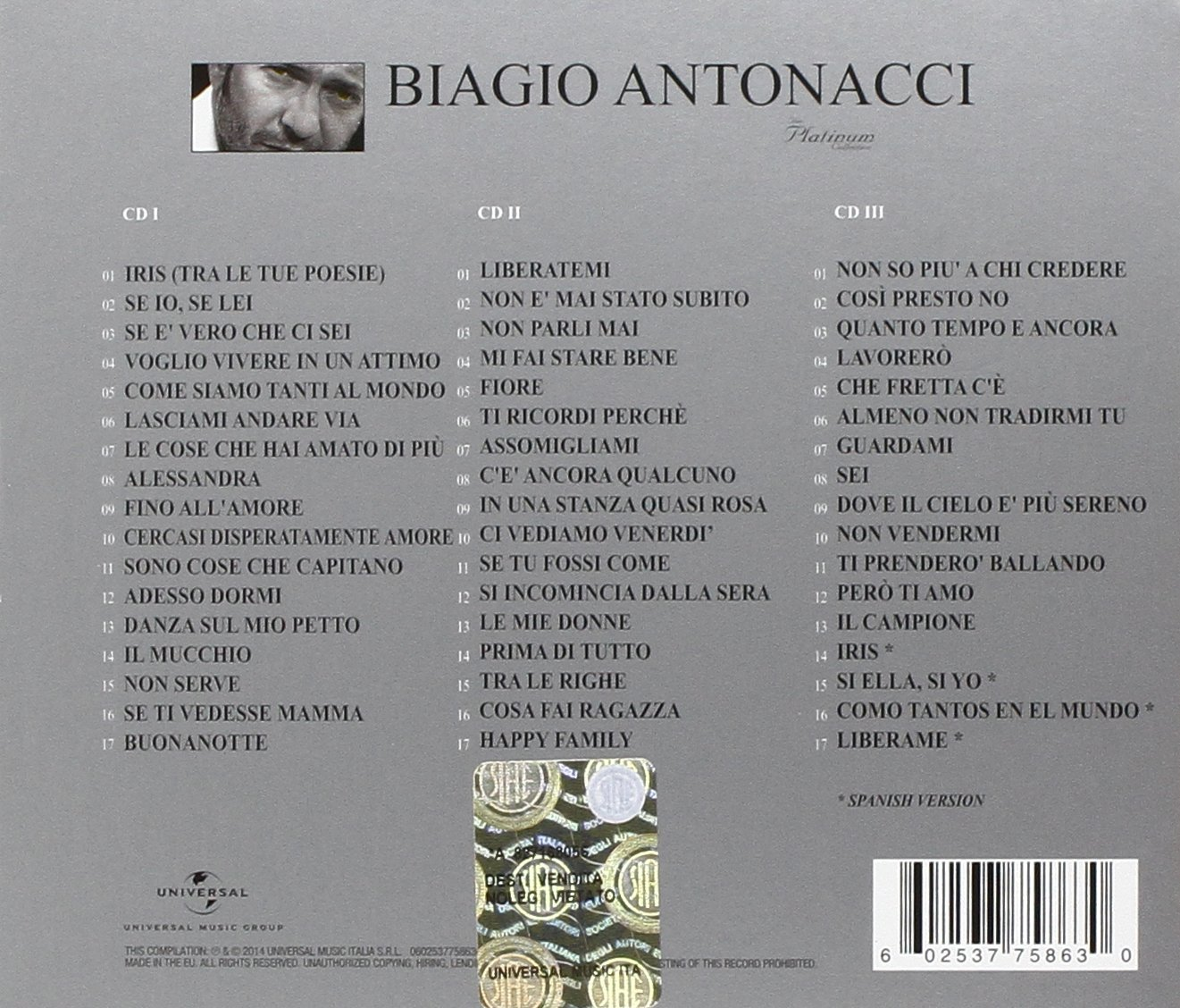 E Tu Dormi Vasco Rossi The Platinum Collection Biagio Antonacci