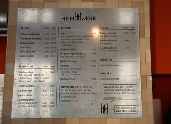 HeimWerk Schwabing Fast Slow Food Restaurant Standardspeisekarte