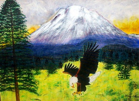 "Original acrylic painting of an Eagle in front of Mt. Adams. This is painted on a 24"" X 30"" canvas. Sorry, this painting is not for sale."