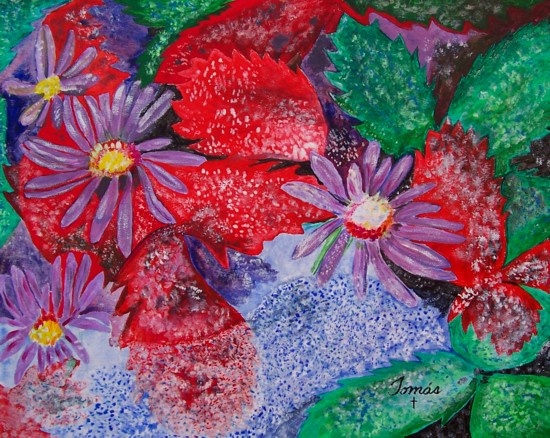 Original acrylic painting of flowers with vivid colors. Frosted Aster (Aster laevis) and Common Strawberry (Fragaria Virginiana).
