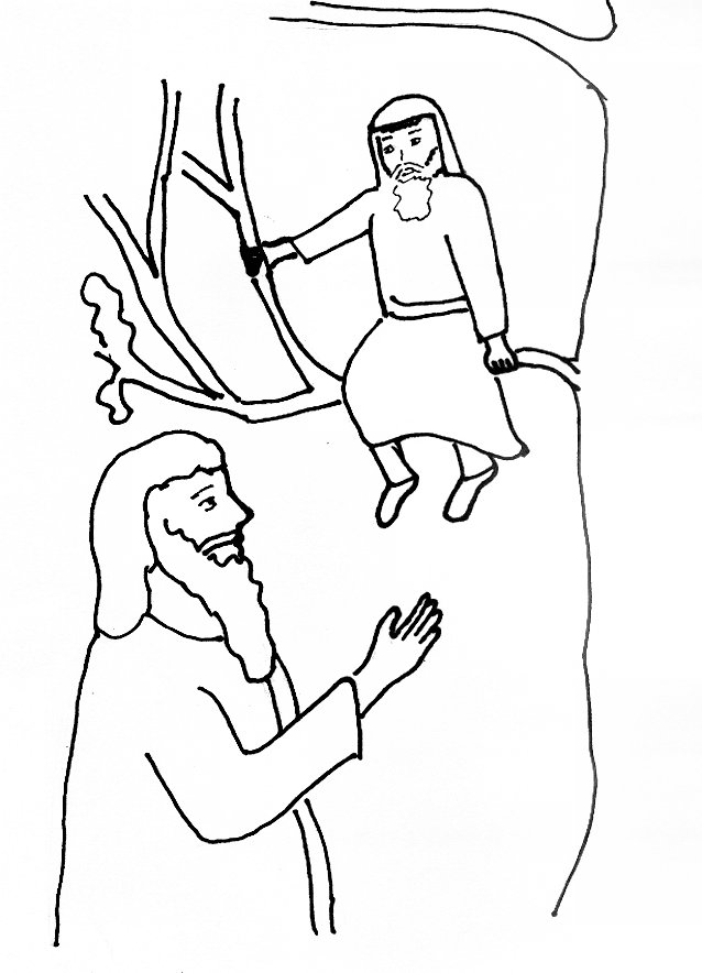 image gallery jesus and zacchaeus coloring page - Jesus Zacchaeus Coloring Page