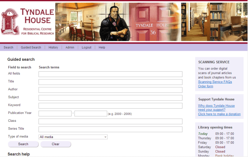 Tyndale House's Library Catalogue giving access to Global Library