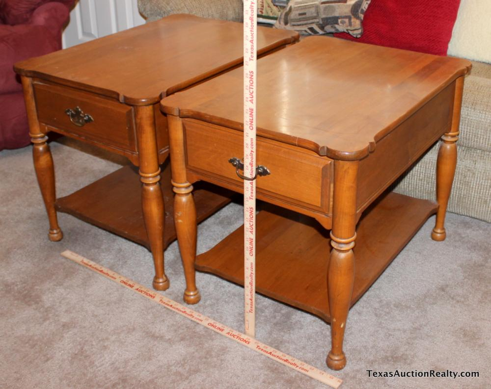 Lot 16pair Of Sprague Carleton Solid Rock Maple End Tables