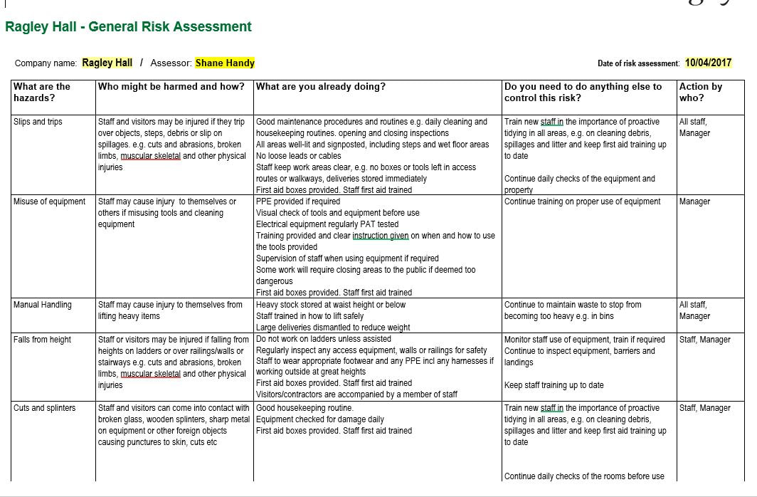 Health and Safety Policy - health safety risk assessment