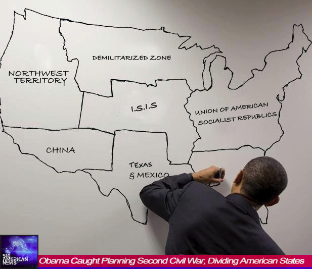 Obama Caught Planning Second Civil War, Dividing American States