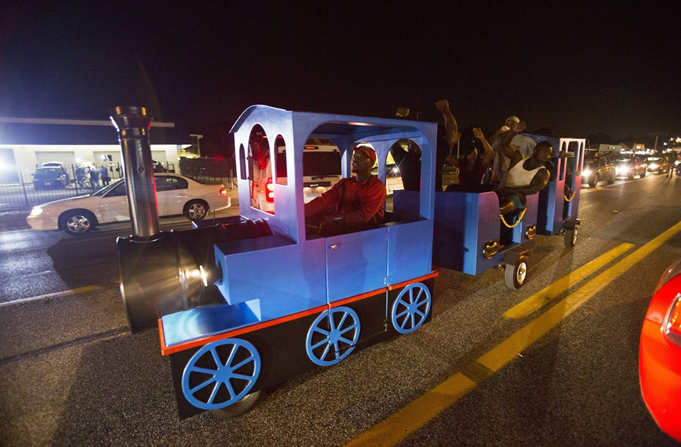 Ferguson Protesters Steal Thomas The Engine from Local Mall, Go On a Parade