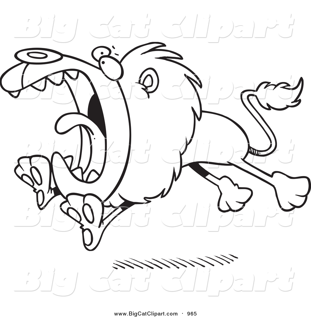 Roaring Lion Clip Art Black And White Big Cat Cartoon Vector Clipart Of A Lineart Roaring And