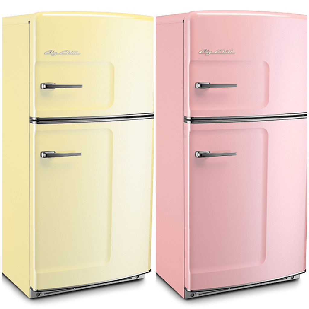 Yellow Fridge Freezer Sparkling White Kitchens With Big Chill Appliances