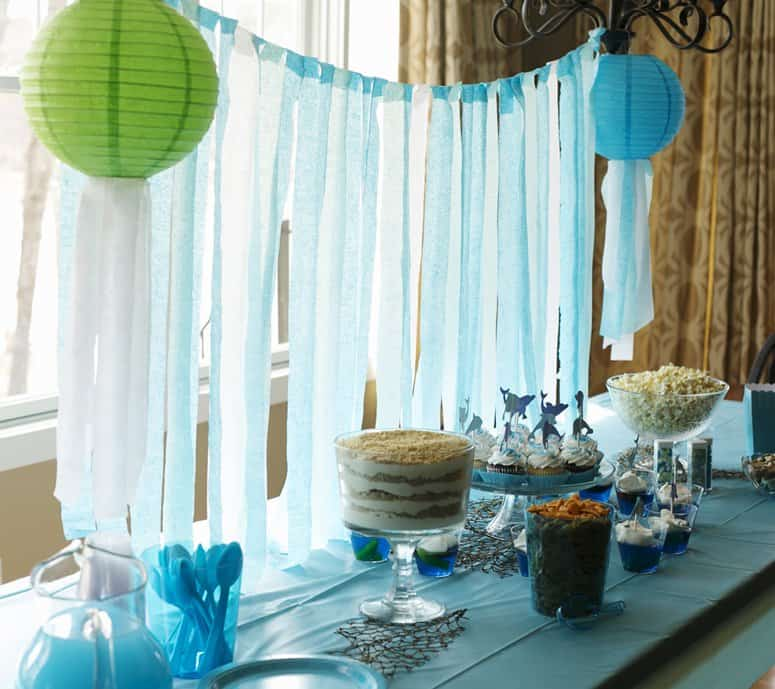 Dolphin Theme Birthday Party - blue and green birthday party