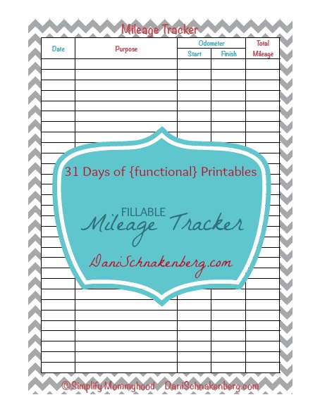 31 Days of {functional} Printables - Mileage Tracker - Big Family