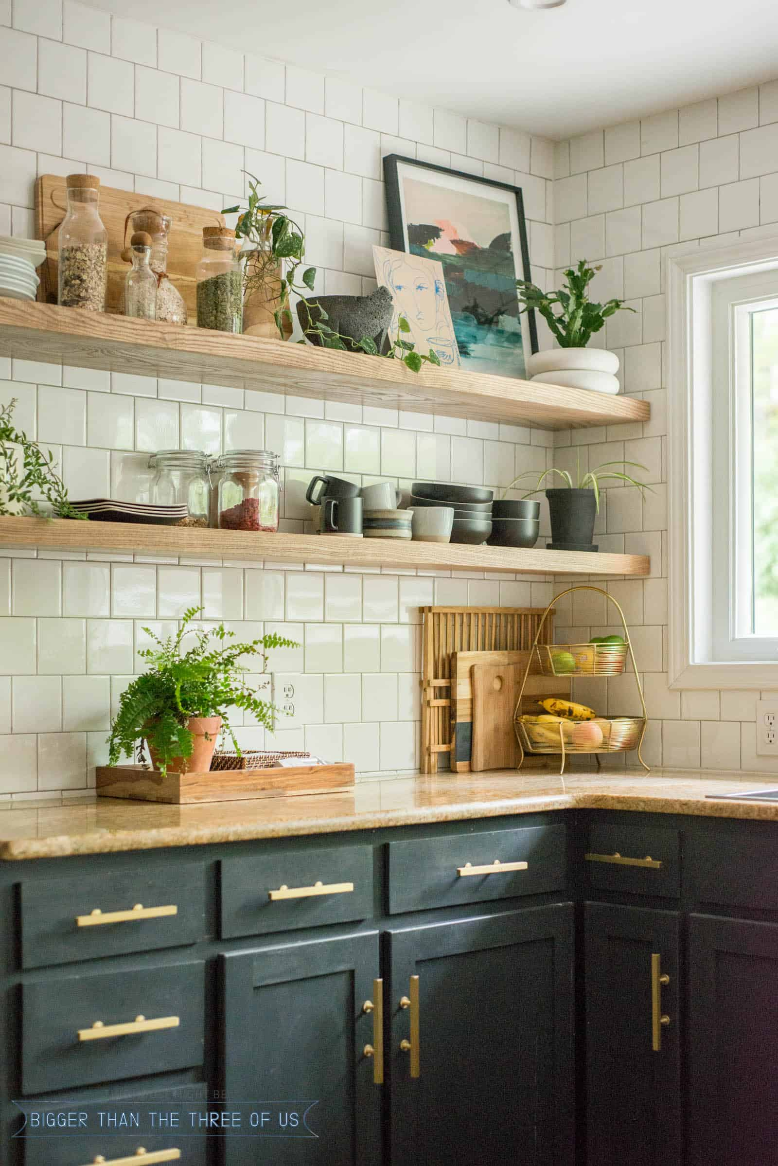 Kitchen Diy Diy Open Shelving Kitchen Guide Bigger Than The Three Of Us