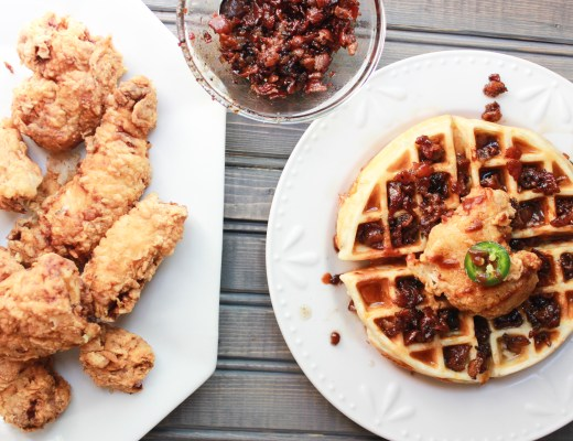 Butter Milke Fried Chicken and Waffles with Vanilla bourbon bacon jam