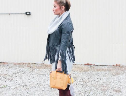 Target Sweater Dress, Otk boots and fringe leather jacket.