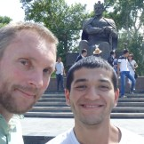 Sardor and myself in front of the Tamerlane statue