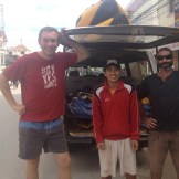 Si, Stu and I about to go kayaking down the Namtha River (Luang Namtha, Laos)