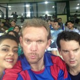 Watching the action at the cricket with Tina and Tim (Delhi, India)