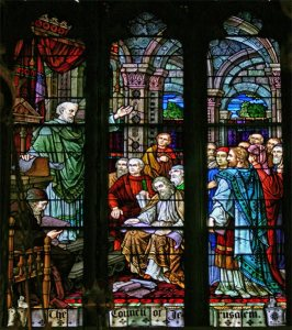 Beautifrul Stain Glass Window Depicting the Council of Jerusalem