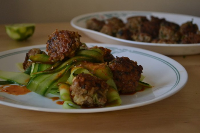 Chicken Rice Meatballs with Cucumber Noodles. Full recipe on BigTasteTinySpace.com
