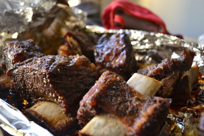 Roasted Short Ribs waiting for Pomegranate BBQ Sauce. Full recipe on BIgTasteTinySpace.com