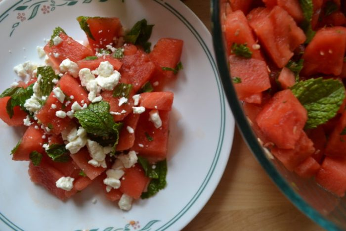 Mint, Watermelon and feta salad with honey lime vinaigrette. Full recipe on BigTasteTinySpace.com