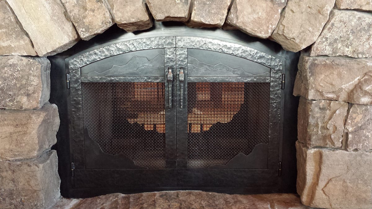Custom Glass Fireplace Doors Custom Metalwork Gallery Big Timberworks Bozeman Mt