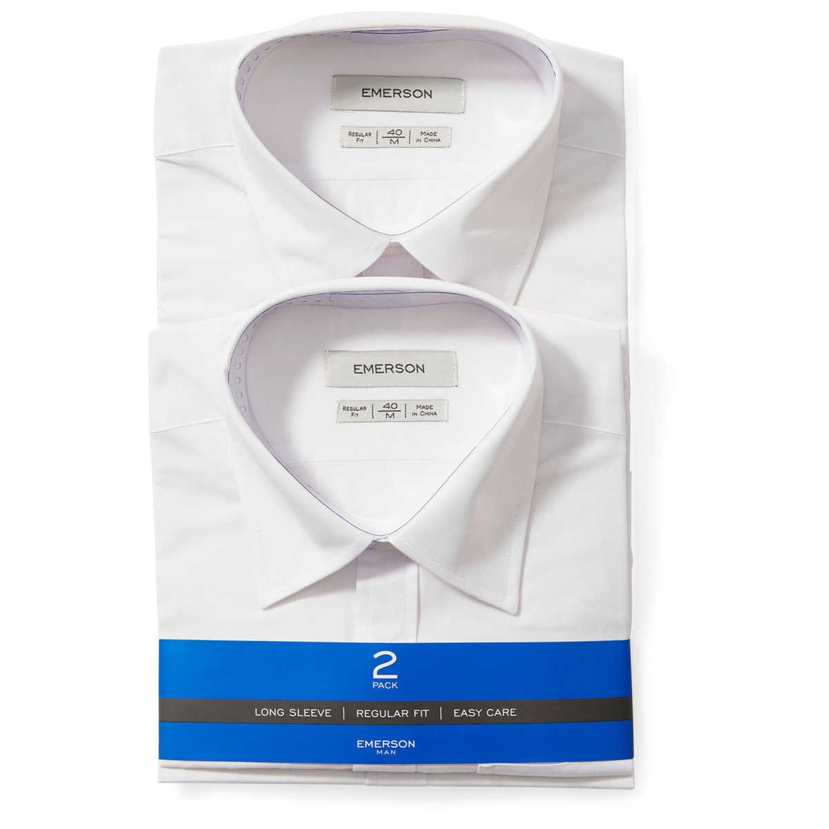 Big W School Shirts Emerson Man Long Sleeve White Shirts 2 Pack Big W