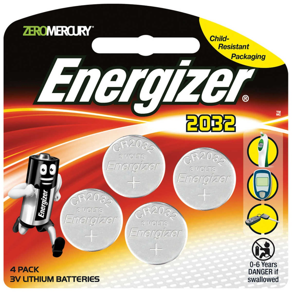 Batterie Cr2032 Energizer 3v Cr2032 Lithium Batteries 4 Pack