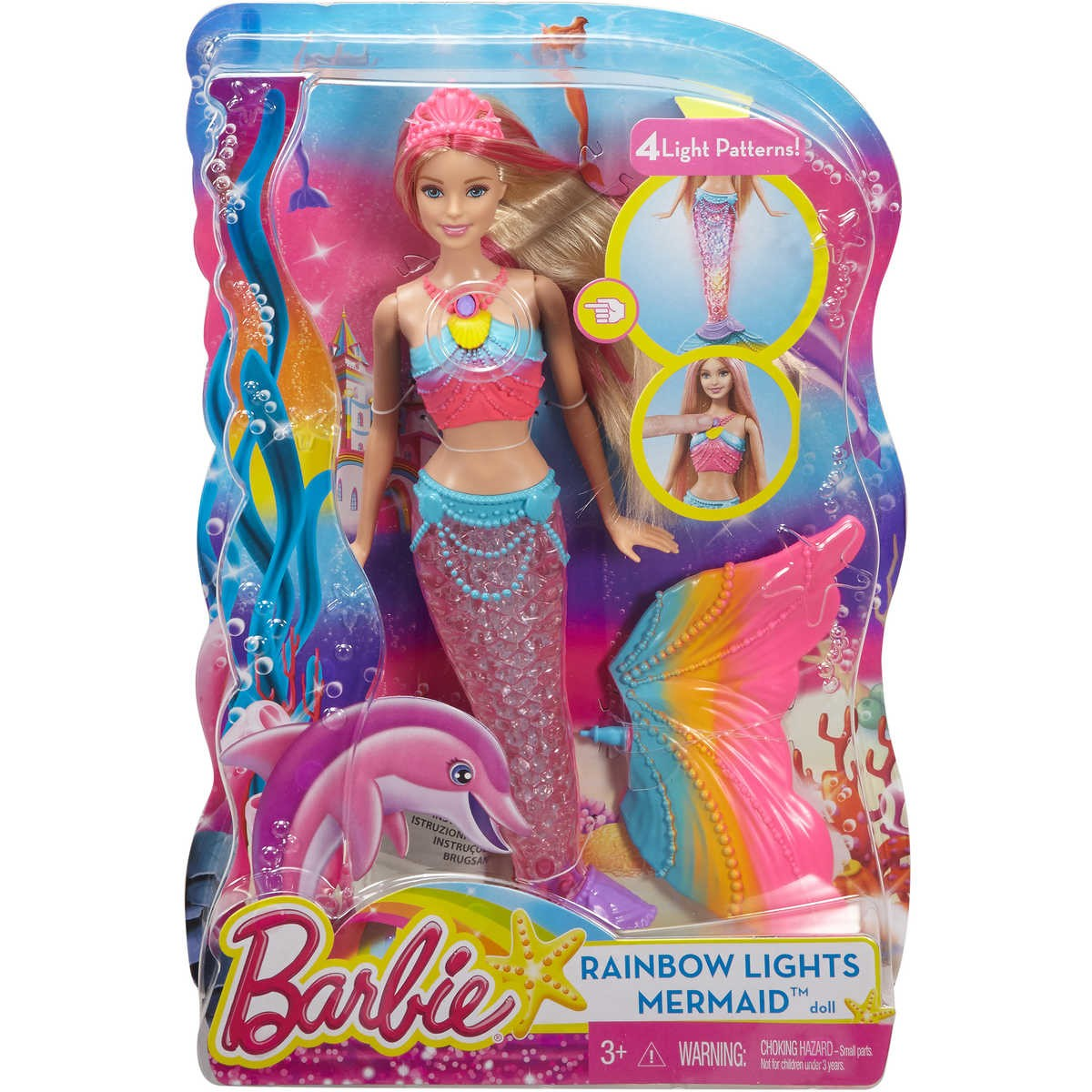 Big W Lights Barbie Rainbow Lights Mermaid Doll Big W