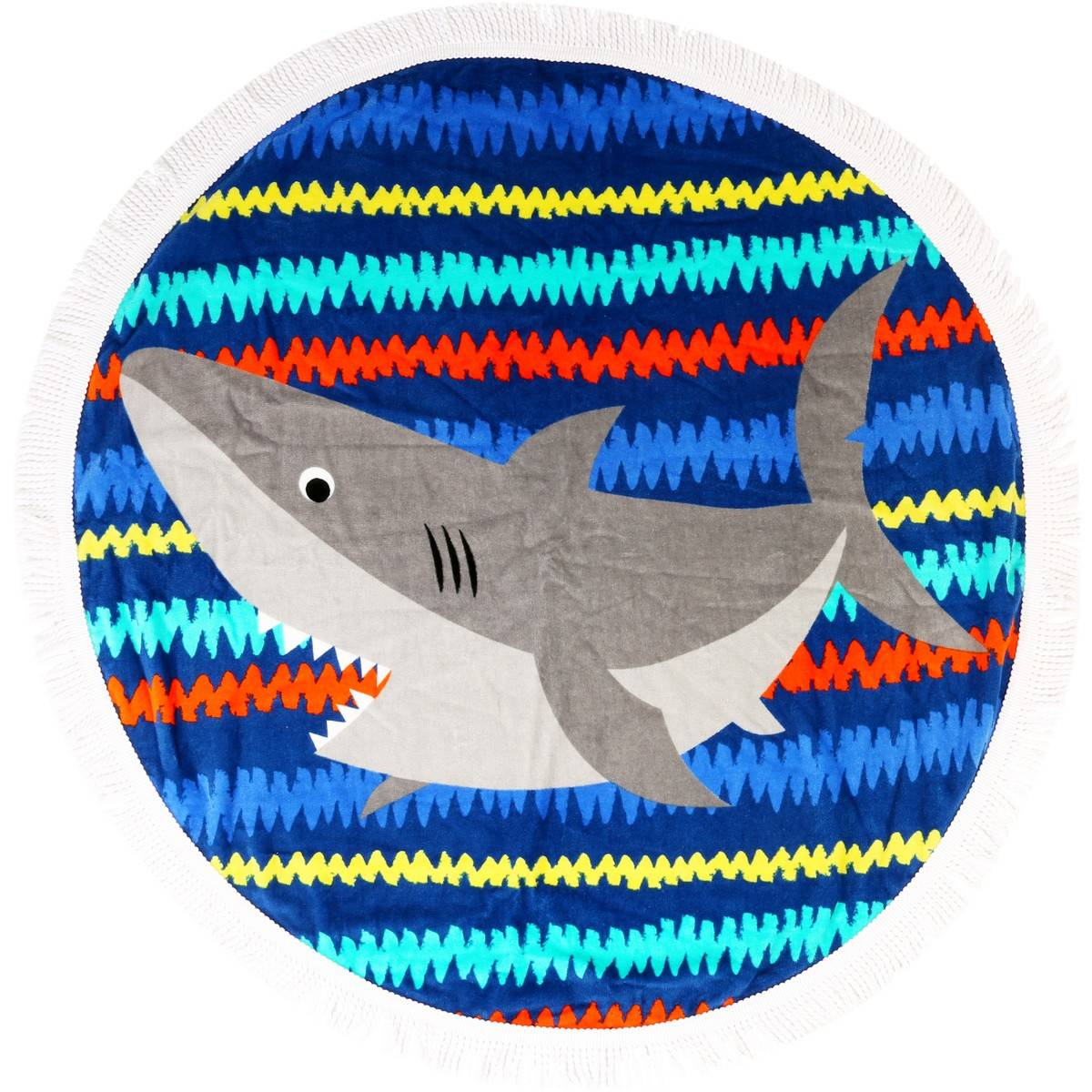 Big W Round Towel Wave Zone Round Beach Towel Shark Big W