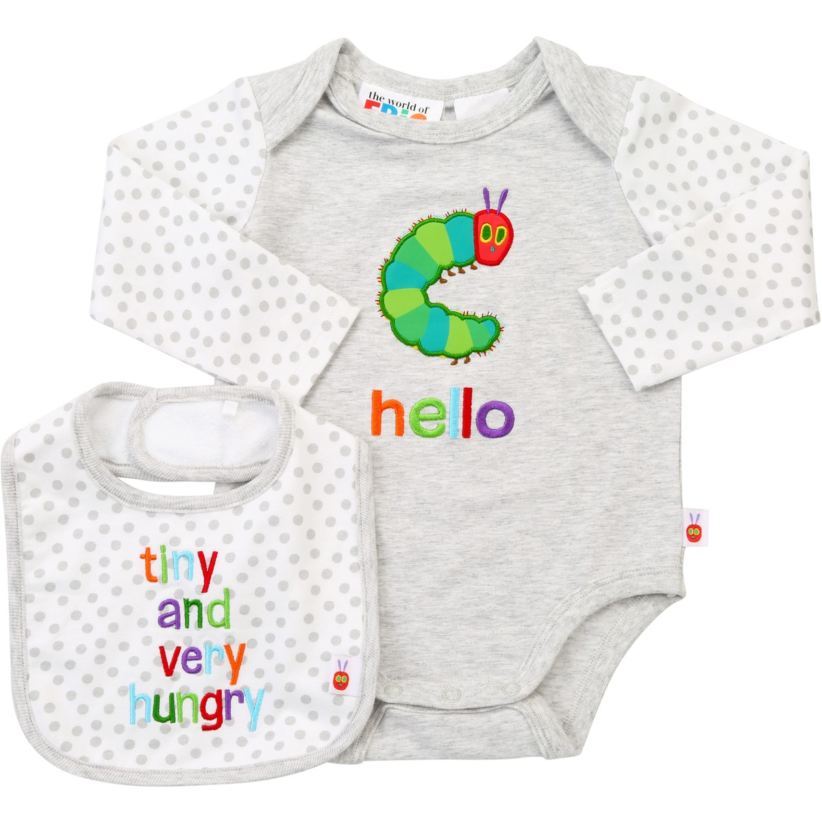 Cheap Baby Clothes Au The Very Hungry Caterpillar Baby Bodysuit And Bib Light Grey