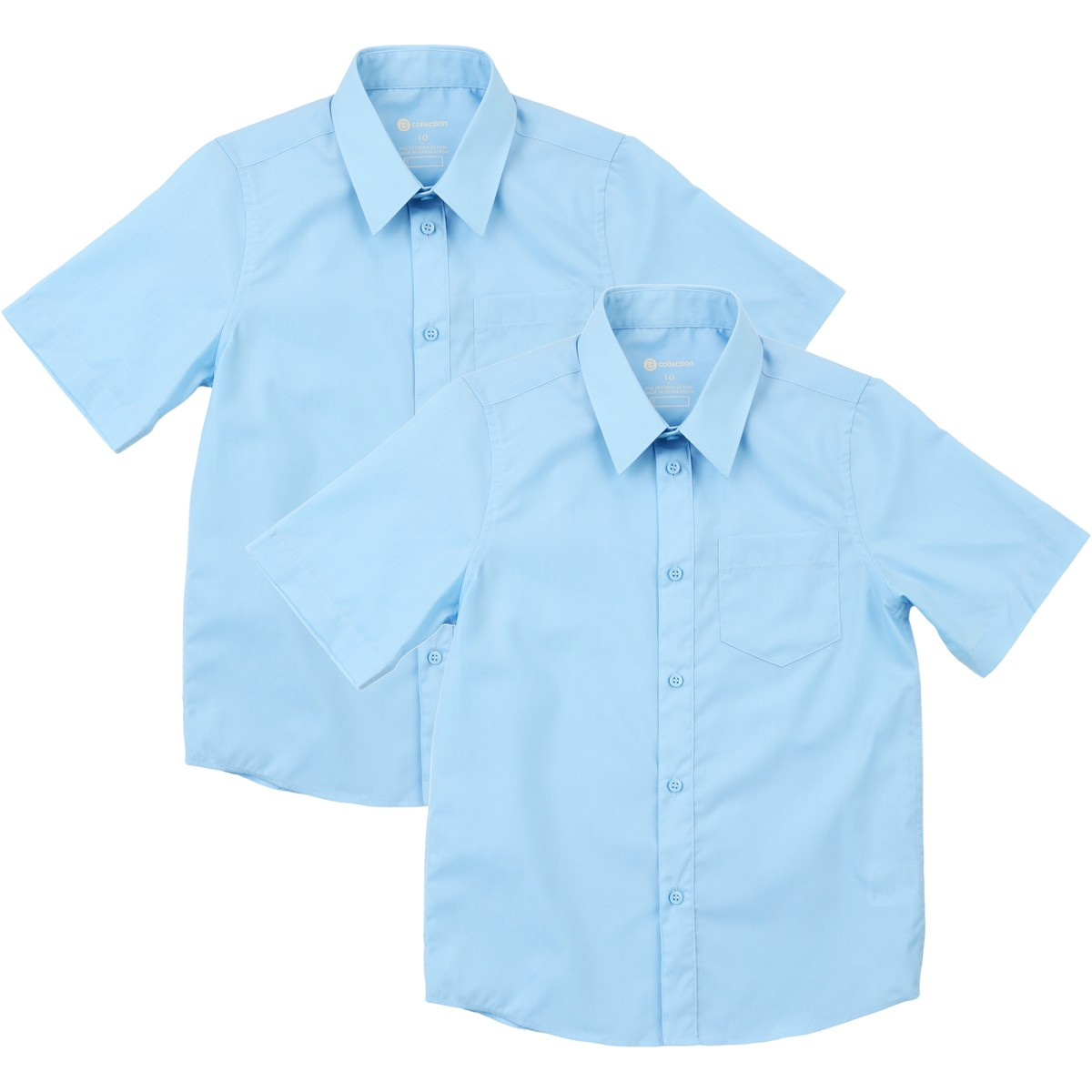 Big W School Shirts B Collection Kids 2 Pack Short Sleeve Shirts Sky Blue Big W