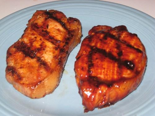 Finished pork chops