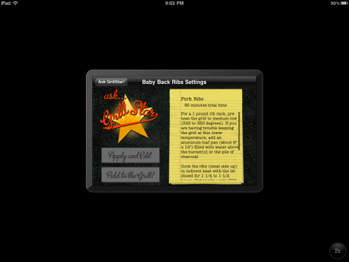 """Ask GrillStar"" screen"