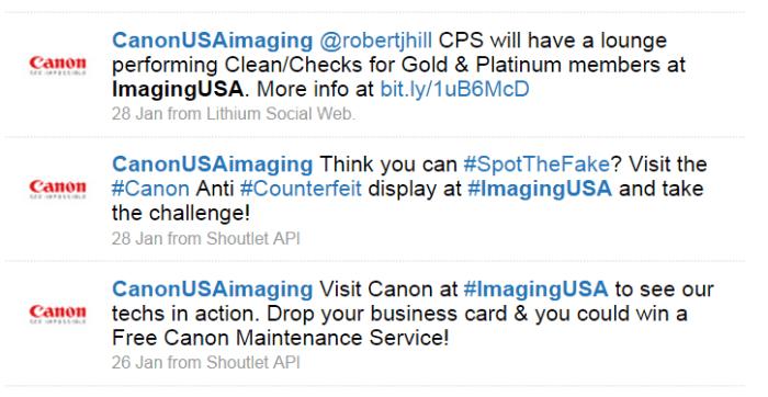 Trade Show Marketing - CanonUSAImaging Tweets