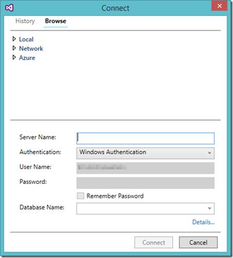 Connect to Azure SQL Data Warehouse in SQL Server Object Explorer Visual Studio