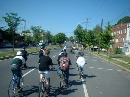 Cyclists continue south on Rhode Island Ave