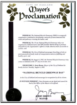 2002 & 2004 City of Oakland NBG Day Proclamations from now CA Governor Jerry Brown