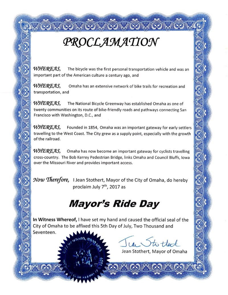 Proclamation-National Bicycle Greenway 2017