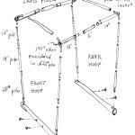 """The canopy frame """"base"""" consists of two 7/8"""" x 24"""" wooden dowels that are inserted into the Xtracycle h-rack (horizontal) tubes and secured with wood screws. Aluminum tent poles are then erected upon this base: a front hoop, a rear hoop, and two cross pieces."""