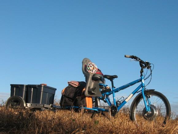 Electric Yuba Mundo with Bikes-at-Work trailer