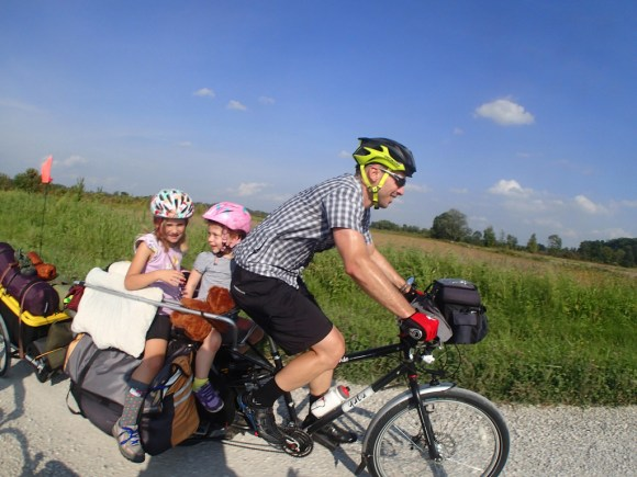 Family cargo bike touring in Indiana.