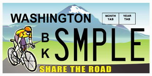 Share the Road license plate supports the Bicycle Alliance of Washington