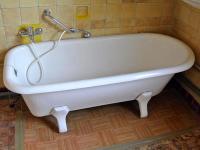 Freistehende alte emaillierte Badewanne in Oftersheim