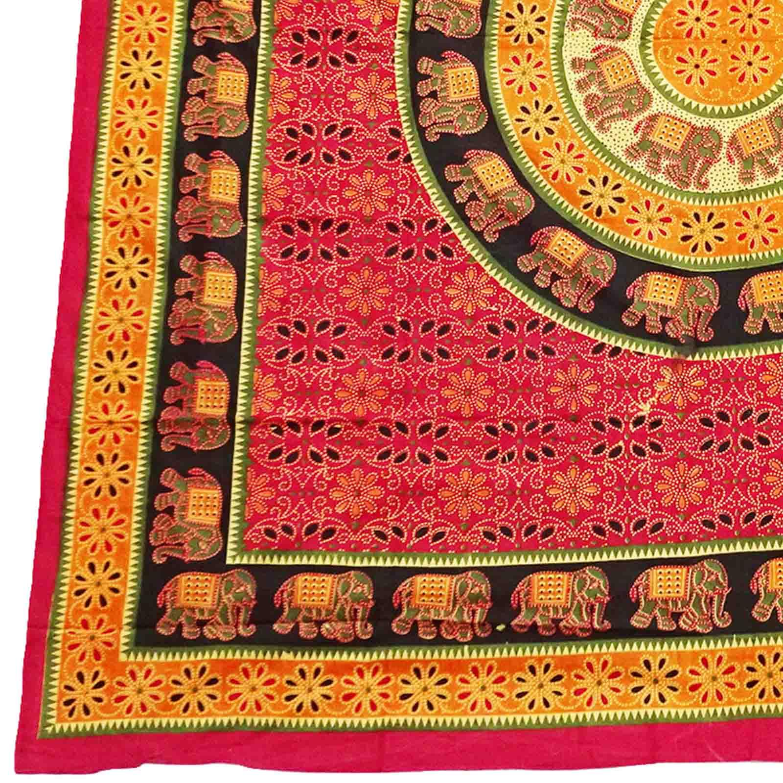 Tagesdecke Elefant Tagesdecke Elefant Rot Orange Grün Roter Rand Indien Wandbehang