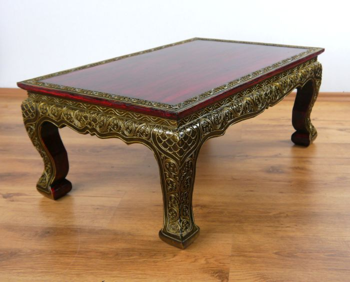 Couchtisch Thailand Asian Opium / Coffee / Sofa Table Red Glass Mosaic Style