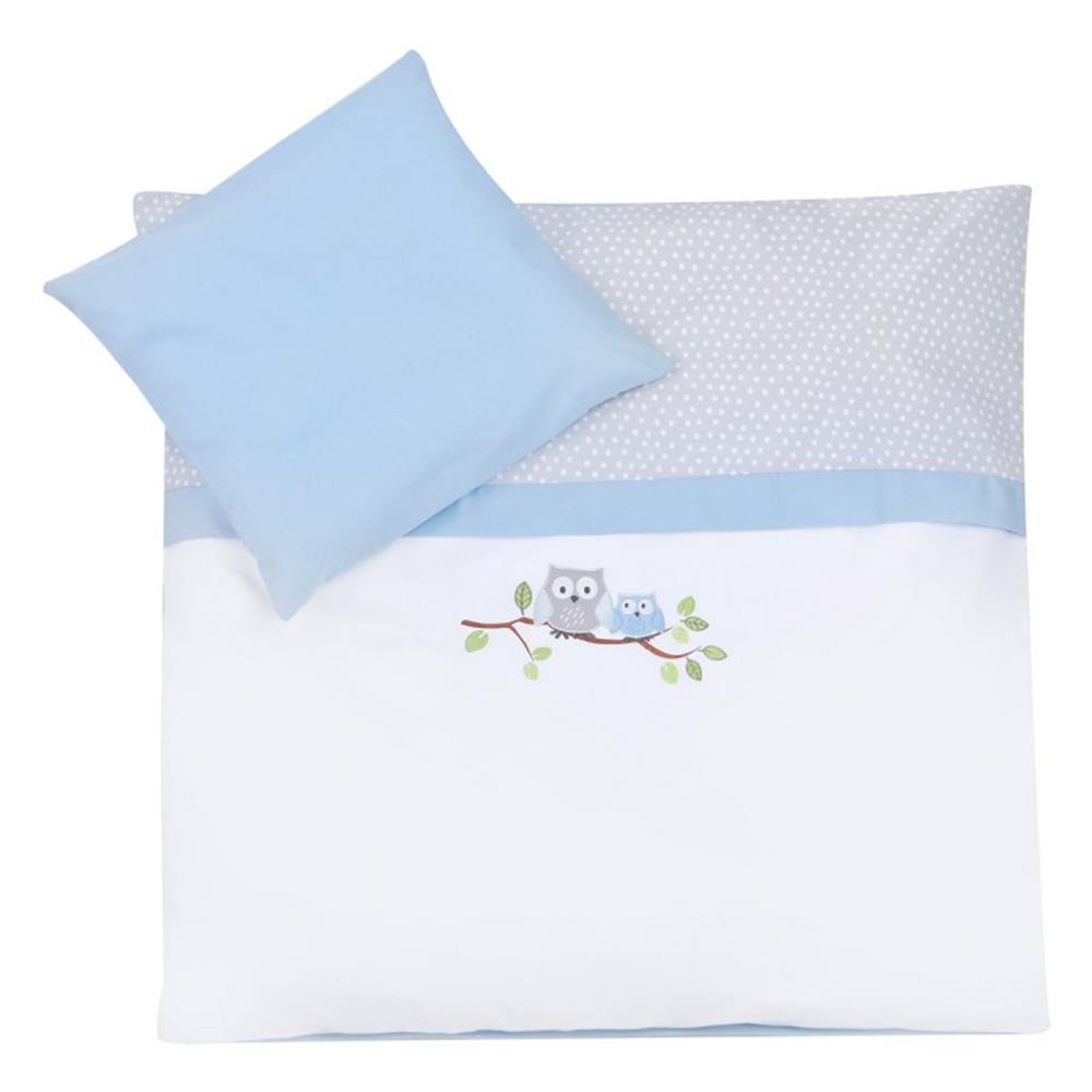 Baby Bettwäsche 80x80 35x40 Zöllner Bed Linen With Embroidery Kleine Owln Blue 80x80 35x40 Cm