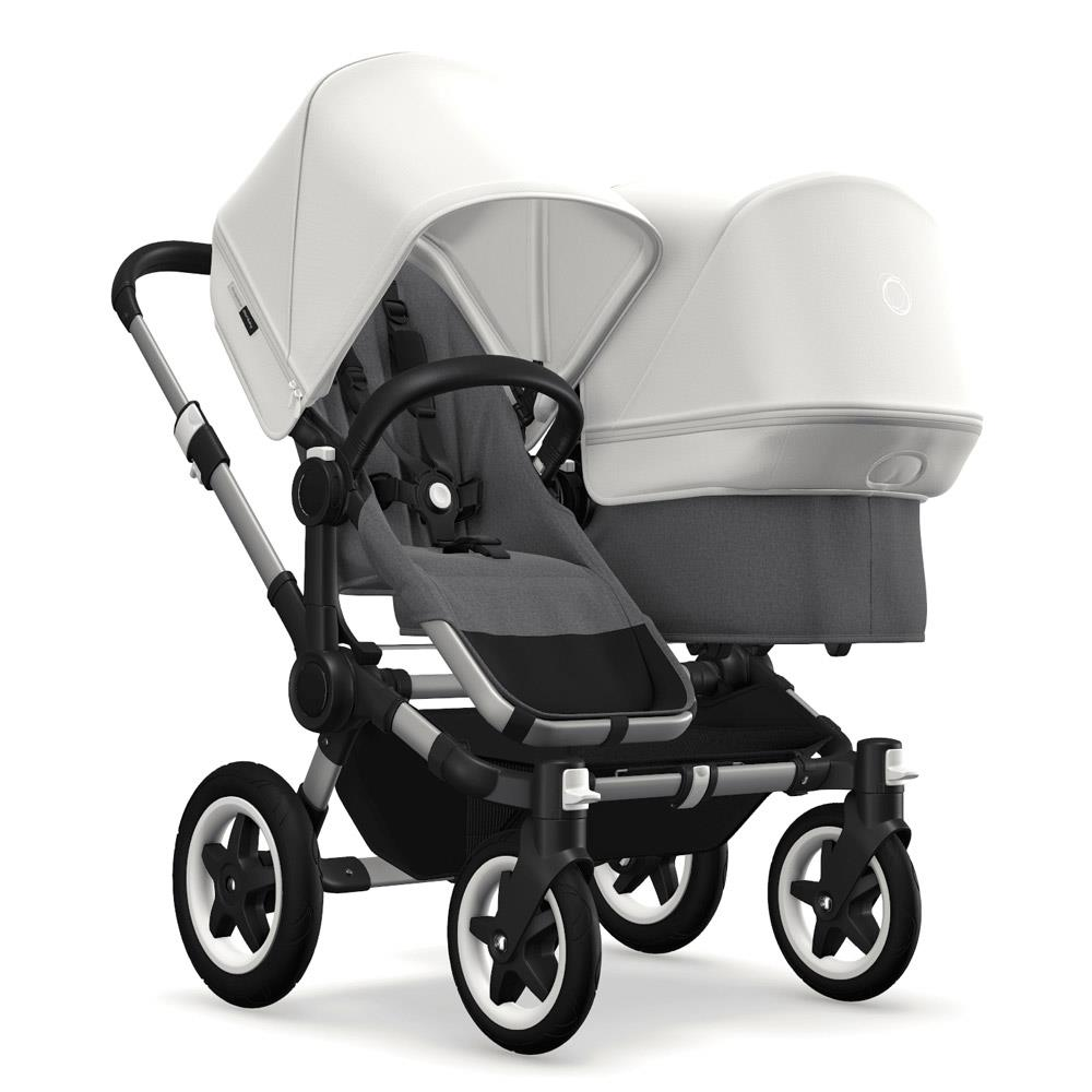 Combi Double Stroller Side By Side Bugaboo Donkey2 Duo 2019 Side By Side Double Stroller Alu Grey Melange Fresh White
