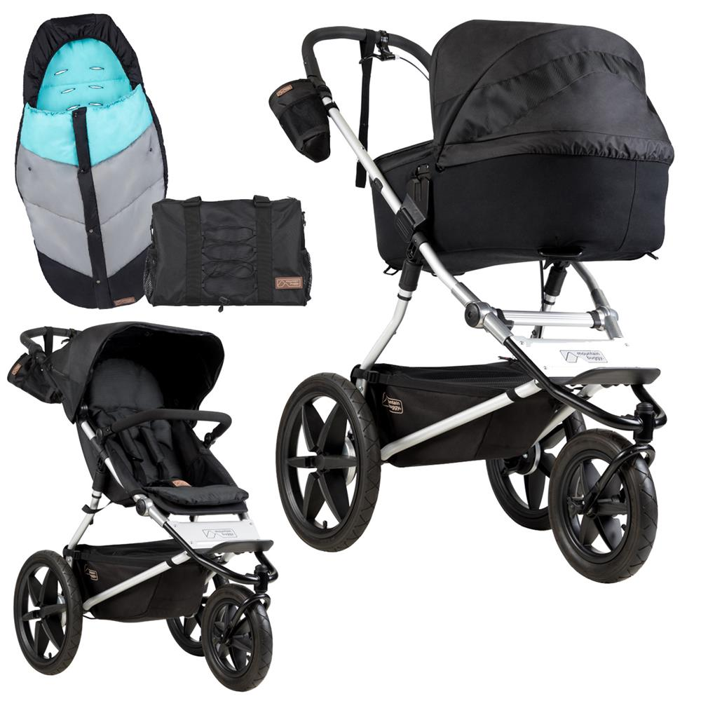 Fußsack Kinderwagen Chicco Mountain Buggy Terrain Kinderwagen Set Mit Carrycot Plus Wickeltasche Fußsack Onyx