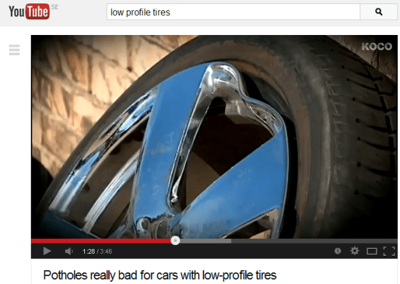 Screenshot from TV News video on potholes and low-profile tires.