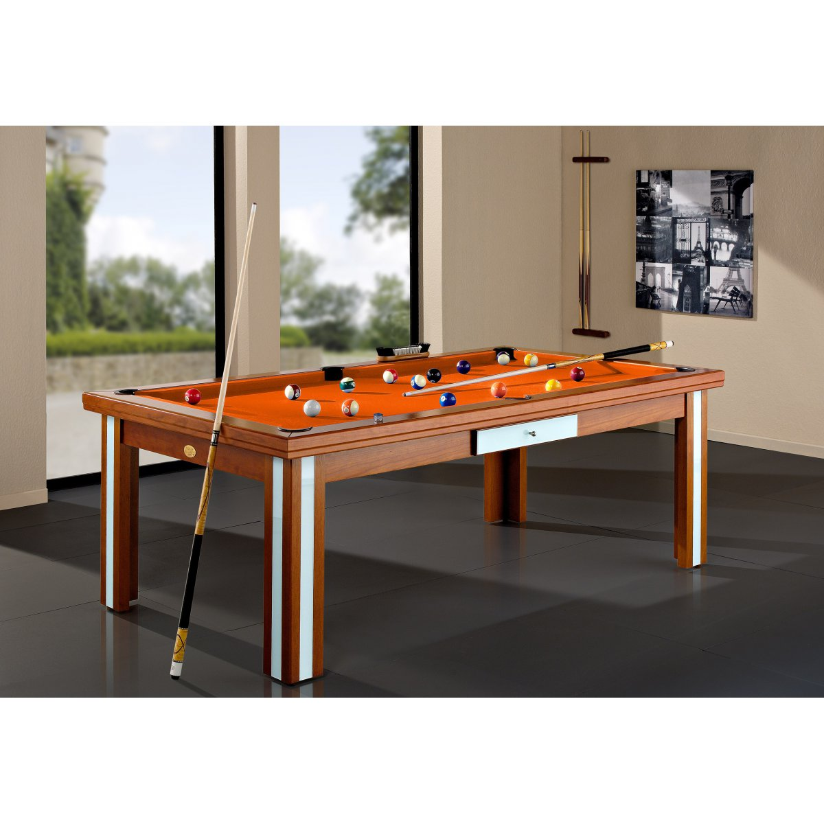 Baby Foot Table A Manger Table Billard Convertible Milan Verre